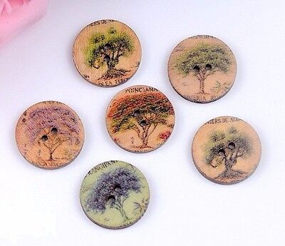 Lot Of 10 Trees Wooden Buttons 3 4   20Mm  Scrapbook Crafts  5181