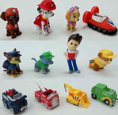 12 pcs/set PAW PATROL Toy Figures Cake Toppers, Ryder + 6 pups + 5 vehicles