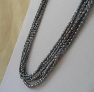 Vintage Multi Strand Gray Cultured Freshwater Pearl Bead Necklace Sterling Clasp