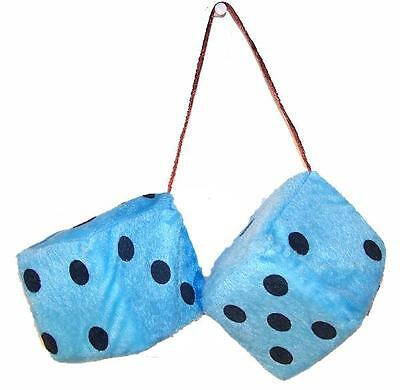BUY 1 GET ONE FREE LARGE pair BLUE FUZZY PLUSH 3 INCH DICE rearview car mirror (Buy Fuzzy Dice)