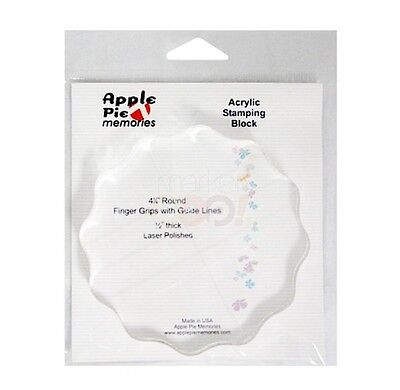 "Apple Pie Memories - ACRYLIC STAMP BLOCK - Grips & Guide Lines - 4 1/4"" Round"