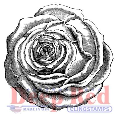 Deep Red Cling Stamp-Rose Engraving