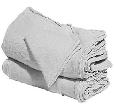 """100 industrial shop cleanup rags / towels white 14''x14"""" professional grade"""