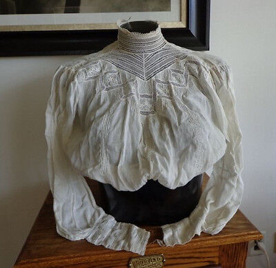 Original Vintage Antique Victorian Early 1900's Ladies Blouse with lace