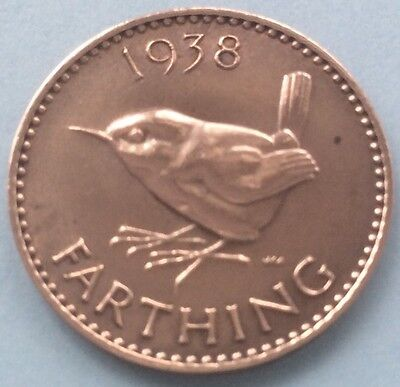 1938 KING GEORGE VI FARTHING (QUARTER OF A PENNY) COIN