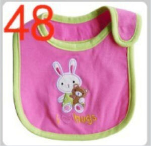 A-new-baby-bibs-waterproof-cute-pink-bunny-and-bear-patterns