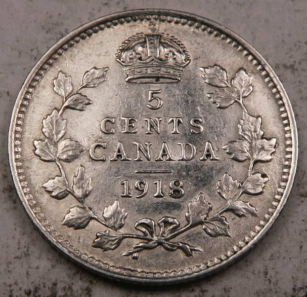1918 Canadian SILVER Five Cent Canada // Choice AU // WC191  - $11.98