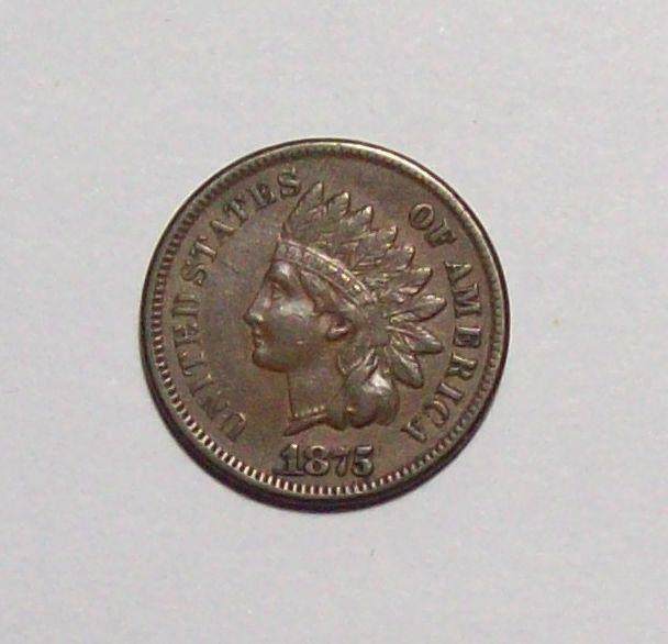 1875  INDIAN HEAD CENT Nice Original Sharp XF++   #23C17