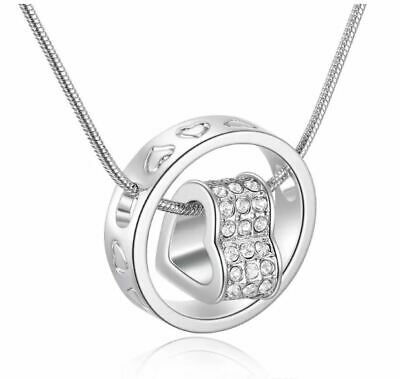 - LOVE YOU FOREVER Austrian Crystal Heart Necklace Pendant ~Great Mothers Day GIft