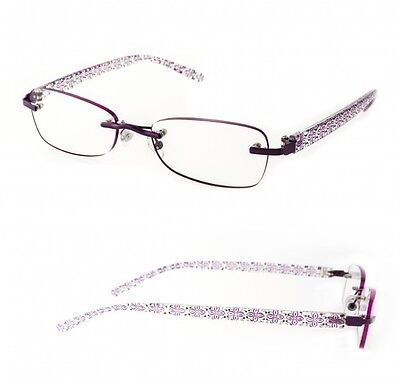 New 2 Pairs Foster Grant Womans Purple Rimless Reading Glasses 1.25 Strength