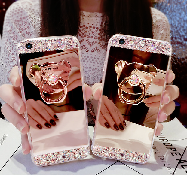 Bling Glitter Case Ring Holder Cute Mirror Back Covers For iPhone Xs Max XR