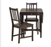 IKEA drop-leaf dining table and 2 chairs