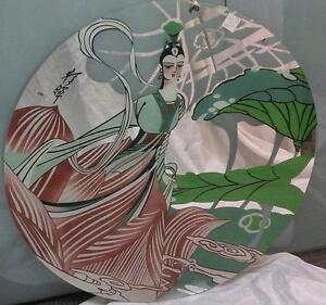 """36"""" Diameter Mirror with lady/lotus etched & hand painted"""