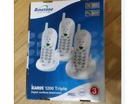 BINATONE CARUS TRIPLE CORDLESS TELEPHONES 3 in 1 pack box