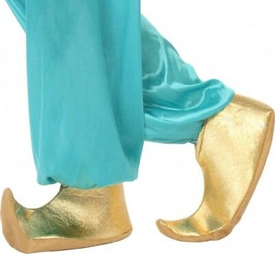 SLIPPERS Golden Costume Man Shoe Aladin Arab Génie NEW - Cheap Costume Shoes