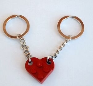 LEGO Dark Red Love Heart Keychain Keyring Valentines NEW