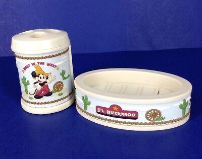 (Disney Mickey Mouse Cowboy Plastic Toothbrush Holder Soap Dish~Li'L Buckaroo)