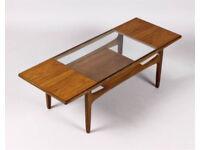 Genuine 60u0027s Teak Glass Top Coffee Table Vintage/Retro/Mid Century/Danish  Style