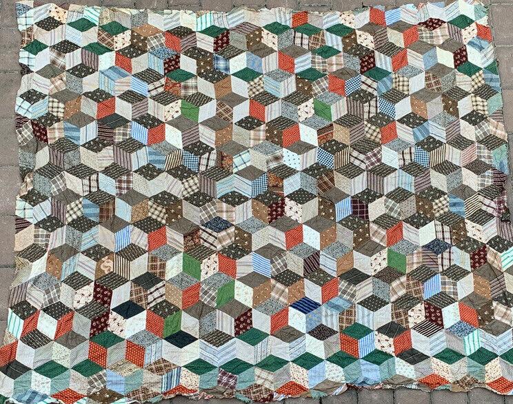 "Antique 1930's Patchwork Quilt Top Hand Stitched 84"" X 72"""