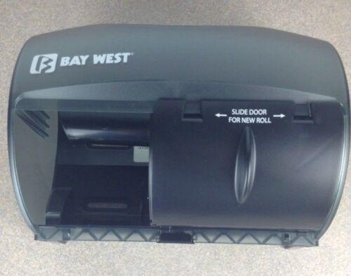 BAYWEST 80200 DOUBLE 2-ROLL TOILET TISSUE DISPENSER SILHOUETTE BLACK TRANS00