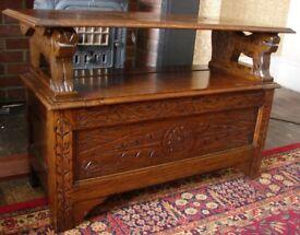 Vintage Carved Oak Monks Bench (Free delivery England)