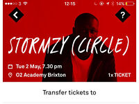 1x Stormzy Tickets tonight Tuesday 2nd May - Circle unreserved seating