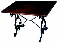 FIVE ANTIQUE OBLONG CAST IRON PUB TABLES: - PUB, RESTAURANT, BISTRO, HOME BAR, MAN CAVE OR WOMANCAVE
