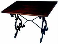 FIVE GENUINE ORNATE ANTIQUE CAST IRON PUB TABLES - PUB, HOME BAR, MAN CAVE OR WOMAN CAVE