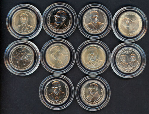 THAILAND TEN COIN SET OF 20 BAHT UNCIRCULATED COINS ISSUED BY THAI TREASURY