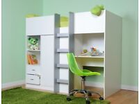 CHILDRENS SHORTY HIGH SLEEPER CABIN BED