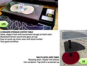 MOVING SALE! Office chair & desk, coffee table, patio furniture