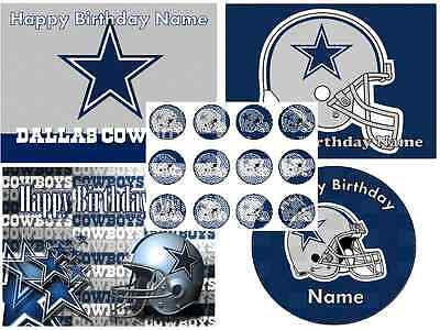 EDIBLE CAKE TOPPER DALLAS COWBOYS ICING SUGAR SHEET IMAGE PARTY CUPCAKES - Cowboy Cupcakes
