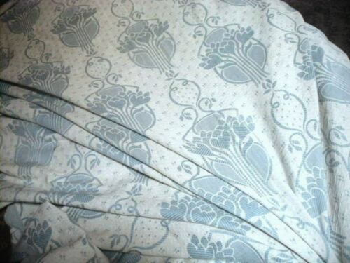 Antique 1900s Art Nouveau Cotton Jacquard Bedspread Florals Blue & Cream TLC