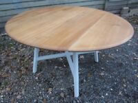 Fully Refurbished - Beautiful Solid Elm Ercol Drop Leaf Extending Dining Table Painted Farrow & Ball