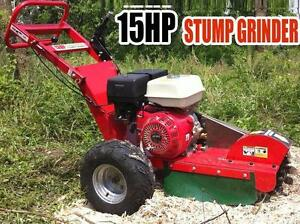 "NEW 15 HP STUMP GRINDER (2) SETS OF SPARE BLADES 12"" CUTTING DEPTH 3600 RPM TREE"