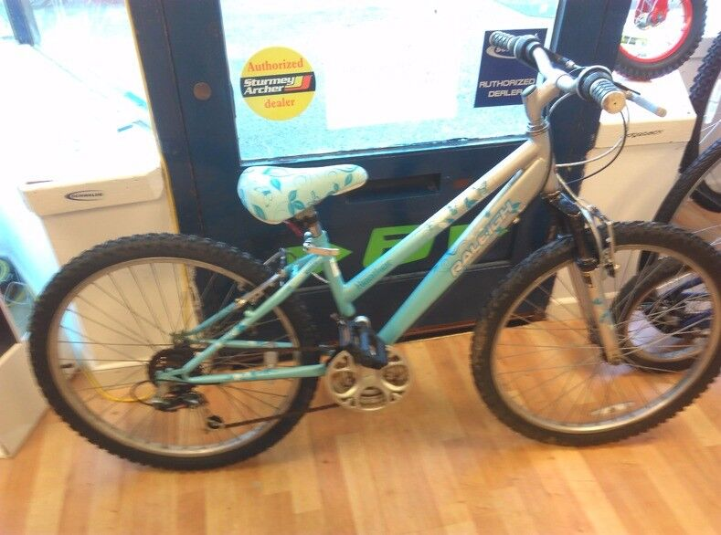 "Raleigh 24"" girls blue white bicycle mountain cycle ready to use"