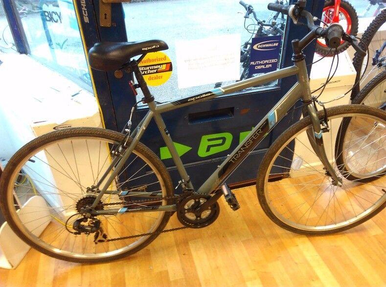 "Apollo Transfer Grey hybrid 19"" frame 700c alloy wheels, grips shifter gears bike bicycle"