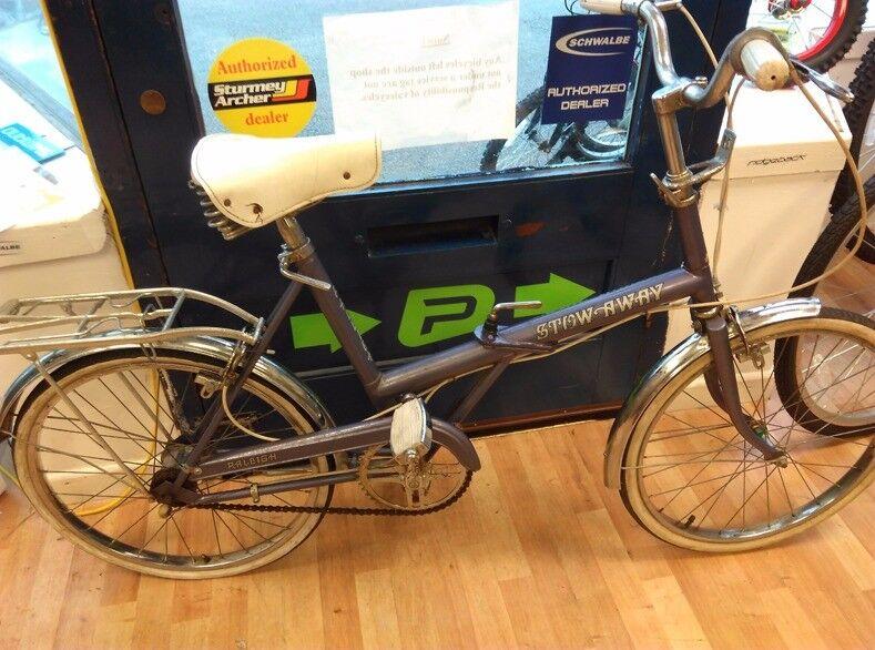 "Raleigh Stowaway folding purple 20"" wheel bike ladies reasonable condition chrome guards bicycle"