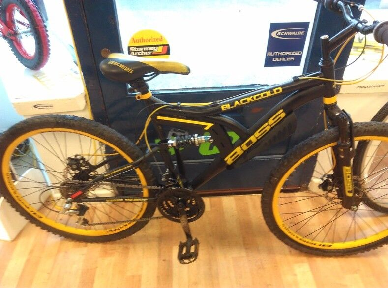 Boss Blackgold yellow wheels and cables ful suspension mountain bike, just had new cables cycle