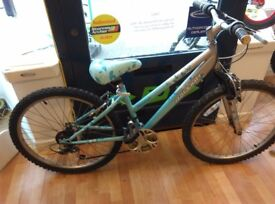 """Raleigh 24"""" girls blue white bicycle mountain cycle ready to use childrens girls bike"""