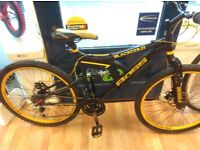 Boss Blackgold yellow wheels and cables full 18inch frame suspension mountain bike