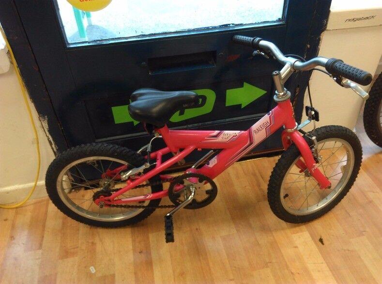 "Raleigh Max 16"" wheel bike girls suit rider age 5-6 years single speed nice cycle"