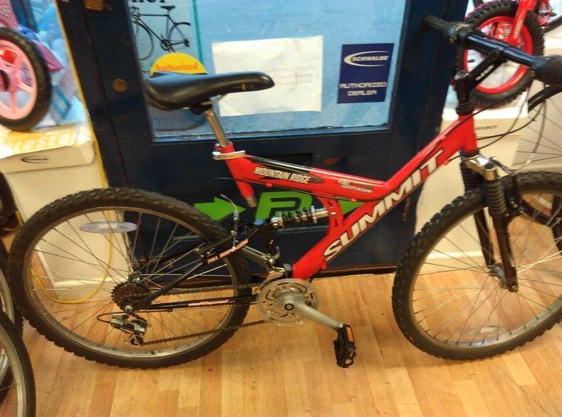 Summit Red full suspension mountain bike fully working fine very good condition frame 18inch