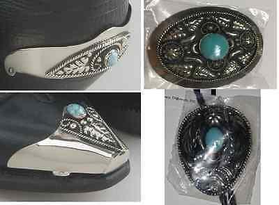 Set of Western Cowboy Boot heel & Tip, Belt Buckle & Bolo Tie Turquoise, Silver
