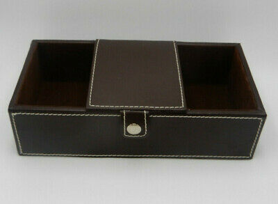 Faux Leather Brown Box Desk Organizer Yn