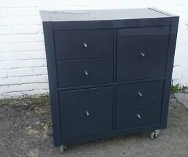 IKEA cabinet / shelving unit 2 doors and 4 drawers on castors