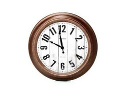 Wooden 15.5 Large Wall Round Wall Clock, Large Numbers, Quartz - NEW