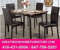 5 PIECE MARBLE LOOK DINING SET..$299