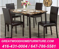 5 PIECE FAUX MARBLE DINING SET..$299