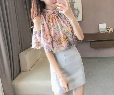 New Women girl Fashion Korean Spring Top Chiffon Floral Loose Split (Korean Spring)